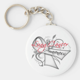 Scroll Ribbon Lung Cancer Awareness Basic Round Button Keychain