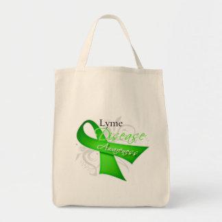 Scroll Ribbon - Lyme Disease Awareness Tote Bags