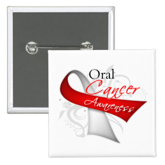 Scroll Ribbon Oral Cancer Awareness Pinback Button