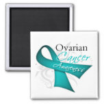 Scroll Ribbon Ovarian Cancer Awareness Refrigerator Magnets