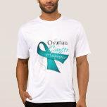 Scroll Ribbon Ovarian Cancer Awareness T-shirts