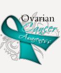 Scroll Ribbon Ovarian Cancer Awareness Tee Shirt