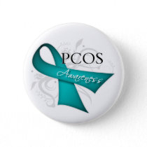 Scroll Ribbon -PCOS Awareness Pinback Button