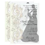 Scroll Silhouetted Bride & Groom Wedding Invite 1