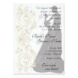 "Scroll Silhouetted Bride & Groom Wedding Invite 1 5"" X 7"" Invitation Card"