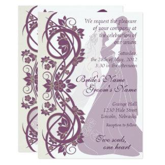 Scroll Silhouetted Bride & Groom Wedding Invite 2B