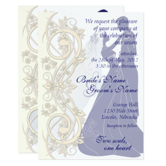 Scroll Silhouetted Bride & Groom Wedding Invite 3