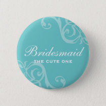 Scroll teal blue wedding name tag badge pin button