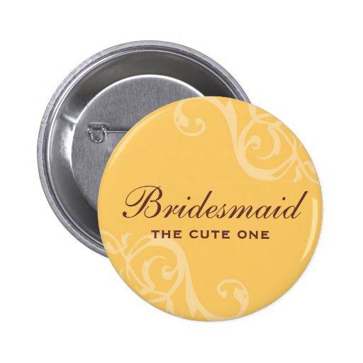 Scroll yellow wedding name tag badge pin button