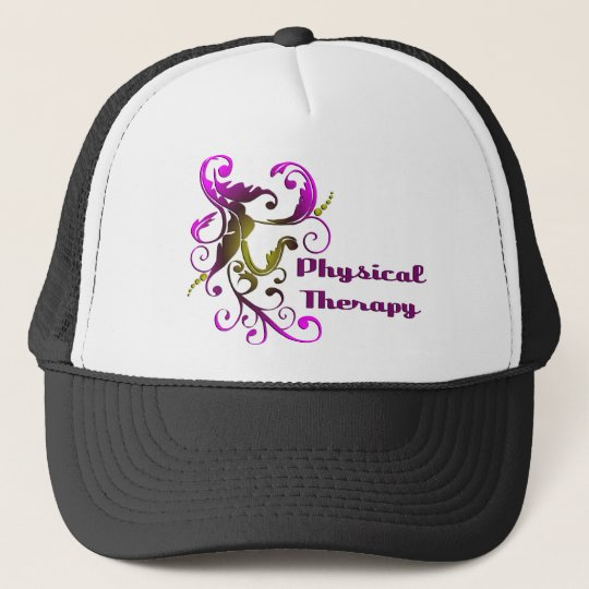 scrollart leaves PT black Trucker Hat