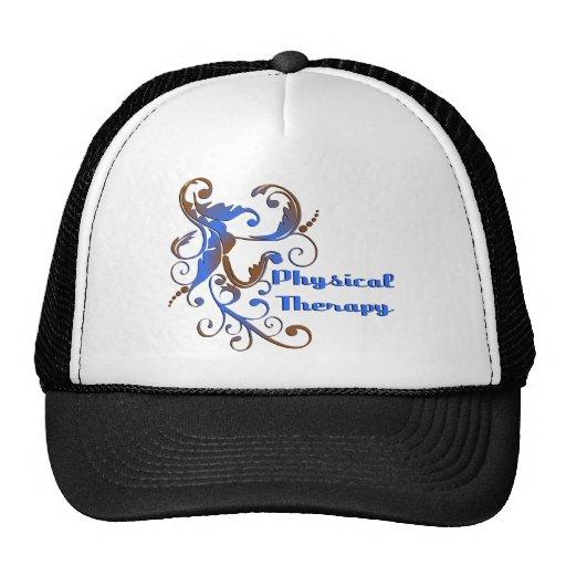 scrollart leaves PT blue brown Trucker Hat