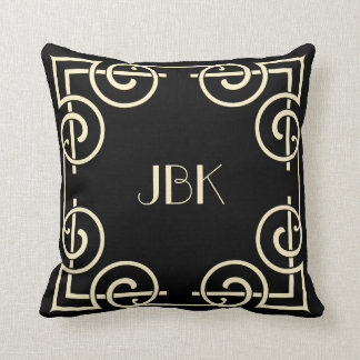 Scrolled Border, Monogram, Cream on Black Throw Pillow