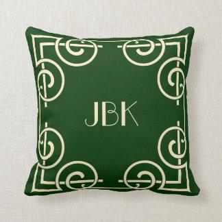 Scrolled Border Monogram Cream on Hunter Green Throw Pillow