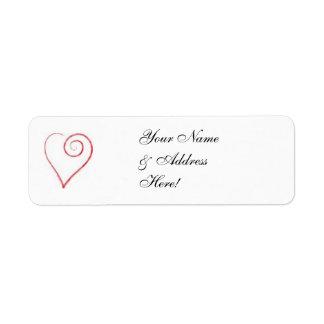 Scrolled Heart Mailing Label Return Address Label