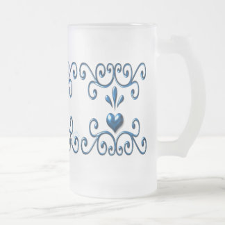 Scrolled Hearts large frosted glass mug rich blue