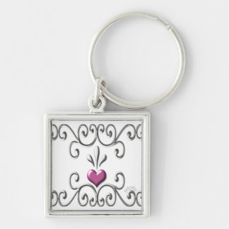 Scrolled Hearts ~ pink Keychain