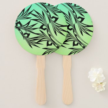 Wedding Themed Scrolled Leaf Ombre Hand Fan