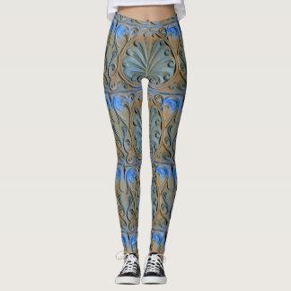scrolled stonework grey blue leggings