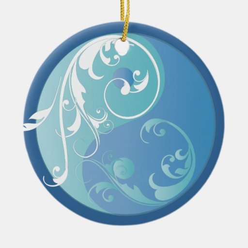 Scrolling Blue Yin & Yang Ornament