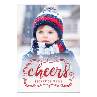 Scrolling Cheers Holiday Photo Cards