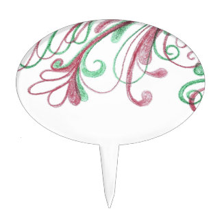 Scrolling Christmas Doodle Cake Topper