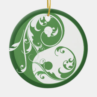 Scrolling Green Yin & Yang Ornament