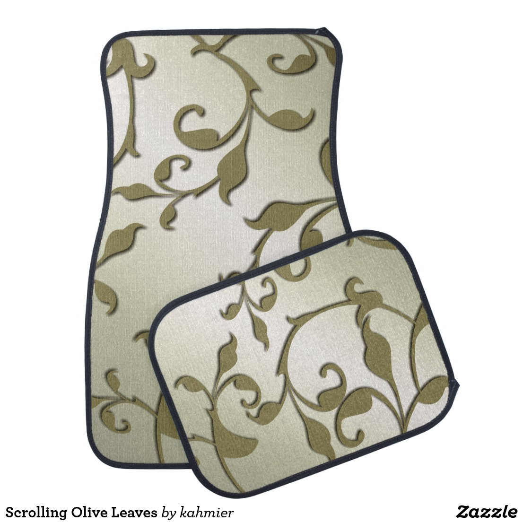 Scrolling Olive Leaves Car Floor Mat