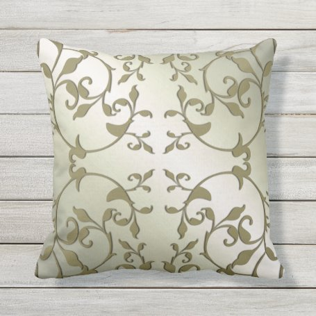 Scrolling Olive Leaves Outdoor Pillow