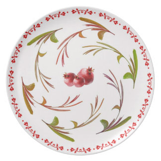 Scrolling Pomegranate Branches Plate