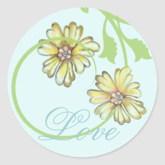 Scrolling Vines & Flowers Blue Stickers