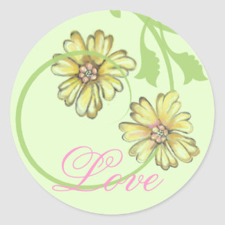 Scrolling Vines & Flowers Green Stickers