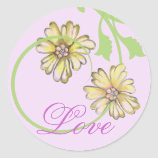 Scrolling Vines & Flowers Lavender Stickers