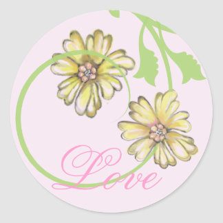 Scrolling Vines & Flowers Pink Stickers