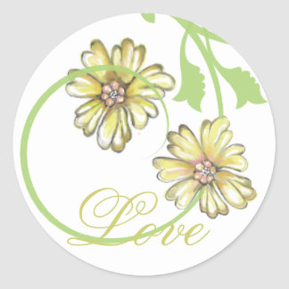 Scrolling Vines & Flowers White Stickers