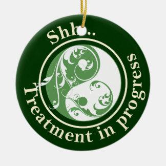 Scrolling Yin Yang Do Not Disturb Christmas Ornament