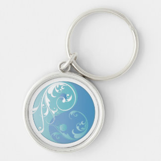Scrolling Yin & Yang (Earth blues) Keychain