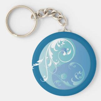 Scrolling Yin & Yang (Earth blues) Basic Round Button Keychain
