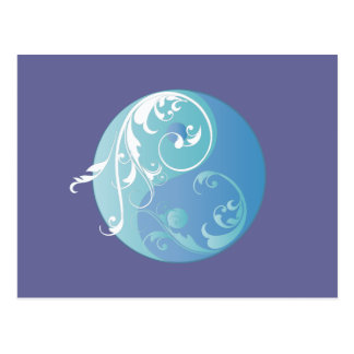 Scrolling Yin & Yang (Earth blues) Postcard