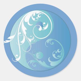 Scrolling Yin & Yang (Earth blues) Classic Round Sticker