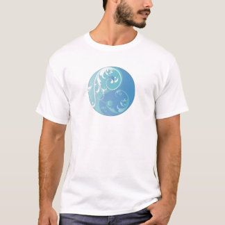 Scrolling Yin & Yang (Earth blues) T-Shirt