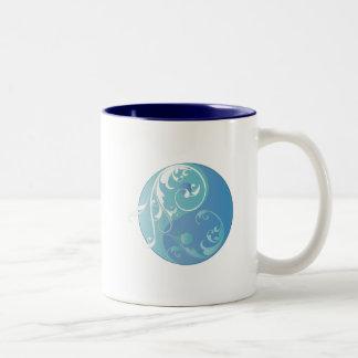 Scrolling Yin & Yang (Earth blues) Two-Tone Coffee Mug