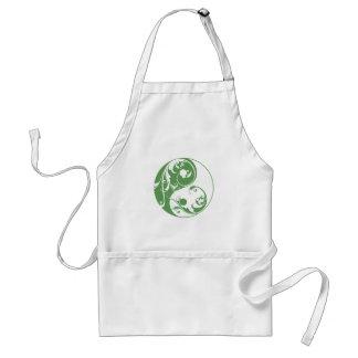 Scrolling Yin & Yang (green) Adult Apron