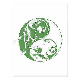 Scrolling Yin & Yang (green) Postcard