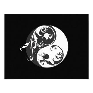 Scrolling Yin Yang Symbol black Custom Invitation