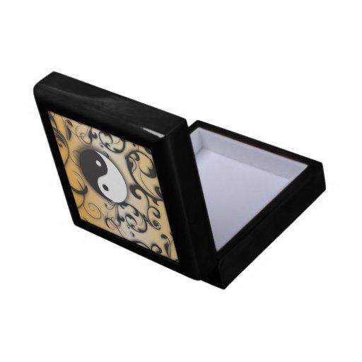 Scrolling Yin Yang Symbol (black) Keepsake Box