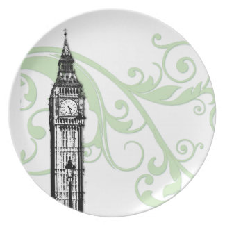 Scrolls and Big Ben Party Plates