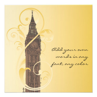 Scrolls and Big Ben Personalized Invitations