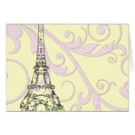 Scrolls and Eiffel Tower Greeting Cards