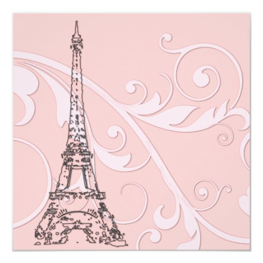 Scrolls and Eiffel Tower 5.25x5.25 Square Paper Invitation Card