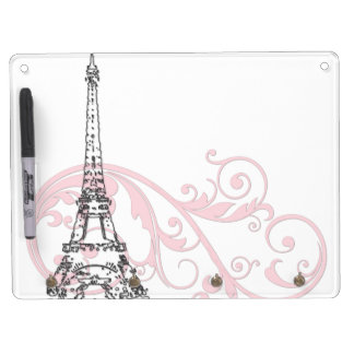 Scrolls and Eiffel Tower - Pink Dry Erase Board With Keychain Holder